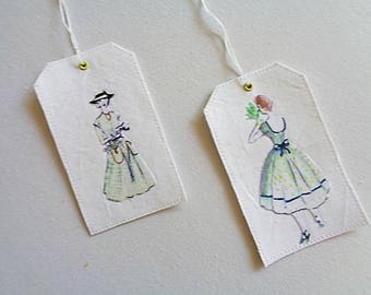 Set of two fabric gift tags or decoration