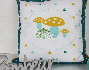 Baby Cushion cover 40 x 40 cm measured and blue hedgehog pattern