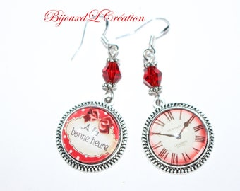 Time earrings mismatched vintage