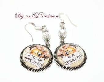 Funny stressed MOM silver plated earrings