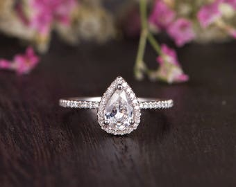 White Sapphire Engagement Ring Pear Shaped White Gold Unique Solitaire Ring Minimalist Wedding Woman Bridal Promise Birthstone Diamond Halo