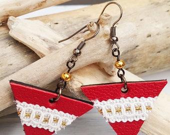 leather triangular earrings