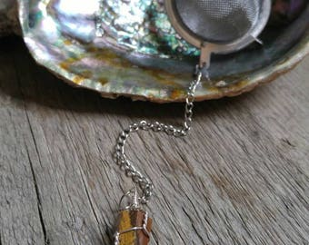 TEA INFUSER / Tiger's Eye / Wire Wrapped / Gemstone Pendant / Crystal Tea Infuser / Tea Ball / Stainless Steel