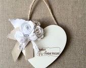 Petit Coeur bois orné de fleurs en tissu