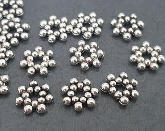 50 beautiful silver flowers spacer 7mm bead caps
