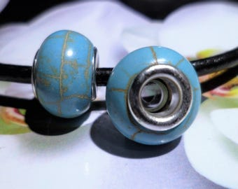 2 European bracelet Turquoise beads