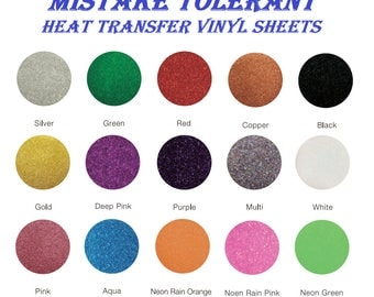 "Glitter Heat Transfer Vinyl Sheet Bundle 12""x10"" 15 Pack Iron On HTV Assorted Colors- Mistake Tolerant - Premium Quality Vinyl Di-Alta Craft"