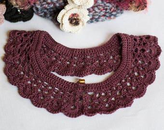 "Collar ""Peter Pan"" handknitted 100% cotton"