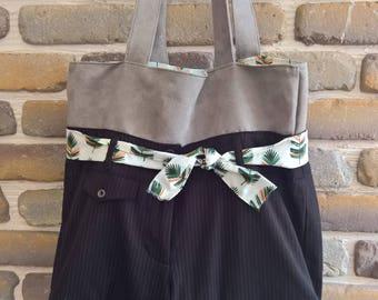 Tote bag original and elegant short black suede and recycled grey
