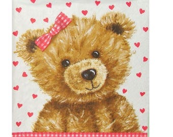 Set of 3 paper napkins OUR039 bears and as little gingham bows