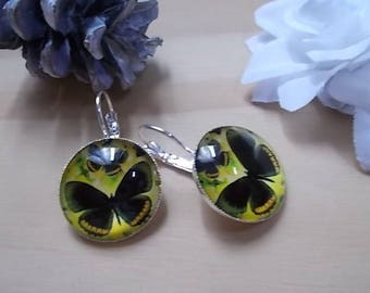 ☀ LALY☀ BUTTERFLY CABOCHON EARRINGS