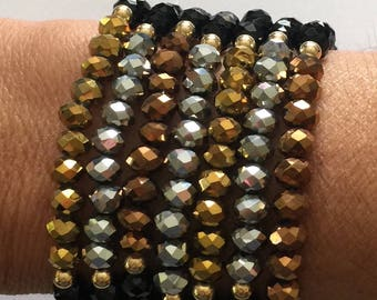 Bead Bracelet Set/Metallic Tones/Crystals