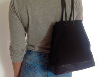 """Purse from the """"Mary"""" black cotton canvas and faux glitter"""