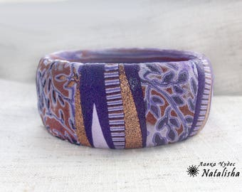 Hard purple bracelet Wide bracelet Lilac&dark purple