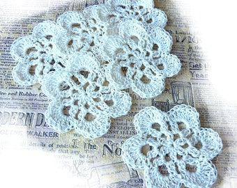 "6 flowers crochet retro cotton beige/ecru 8.5 cm (3.34 "")"