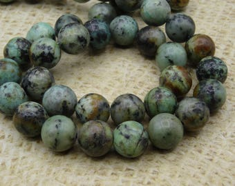 10 turquoise round beads 10mm African original
