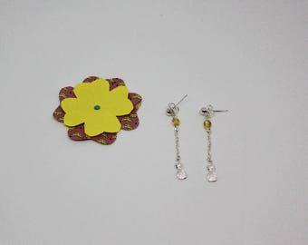 Earrings: pineapple, silver chain charm