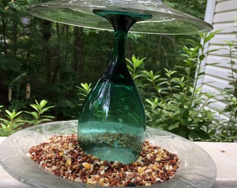 Upcycled Glass Tabletop Bird Feeder