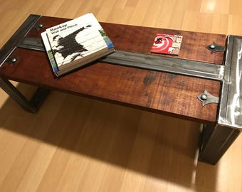 Steel and Mahogany coffee table