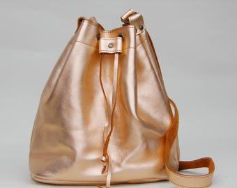 LEATHER BUCKET BAG metallic golden rose, Size large, Leather Shoulder Bag, Leather Bucket Purse, Made in Greece, Handmade bag