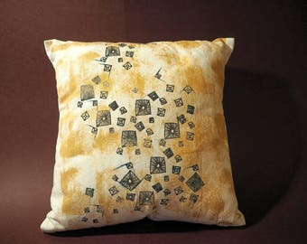 Hand-painted, Screen-printed, Scattered Stud Cushion featuring Gold Stonewash and Emerald accents