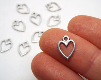 10x Small Outline Heart charms 15mm x 12mm,