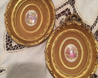 Vintage Victorian framed art, porcelain Victorian Revival picture, framed art