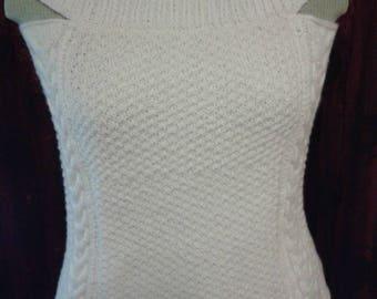 Handmade tank top women size 38/40 wool fancy stitch boatneck sleeveless