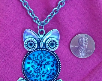 """Owl Be Seeing You - Silvertone Owl w/Blue Tree of Life Cabochon Center 20"""" Necklace **FREE DOMESTIC SHIPPING**"""