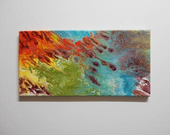 Meteor Stream, Original Flow Art Painting on Stretched Canvas