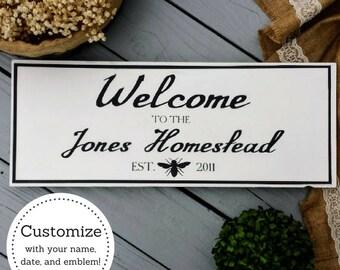 9x23 Custom Homestead Sign - Last Name Sign -Custom Family Name Sign - Farmhouse Decor - Homestead Sign - Custom Last Name Sign -Rustic Sign
