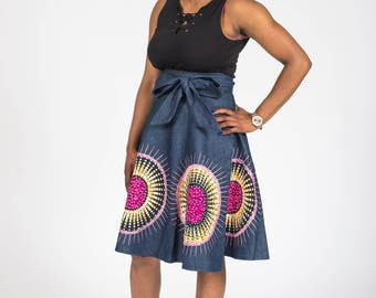 Denim and African Print Wrap Skirt