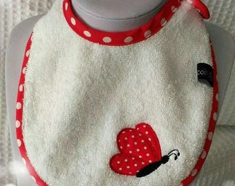 colors red and White Butterfly embroidered baby bib
