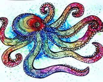 Rainbow Galaxy Octopus Watercolor Art Print