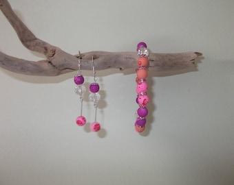 Bracelet and earrings pink, purple, peach