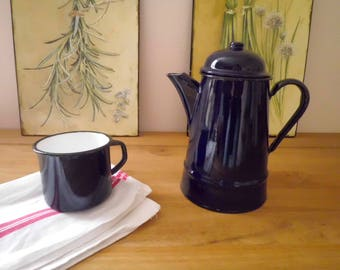 All MUG / coffee pot blue enamel cup blue enamel coffee pot blue enamel, retro kitchen utensils, Coffee Pot!
