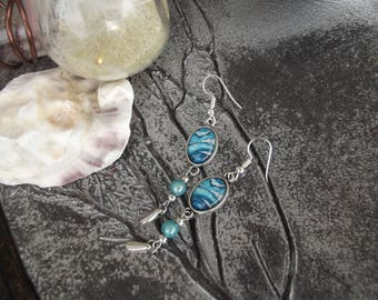 "Earrings silver hooks and oval glass cabochon motif ""paint stains"" turquoise and white and turquoise bead"