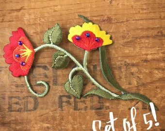 Embroidered Floral Vine Iron Appliqué With Red and Yellow Flowers