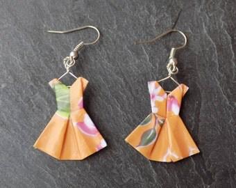 Orange floral origami dress earrings