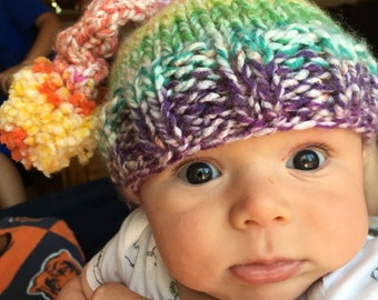 Hand knit infant stocking hat