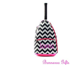 Monogram chevron Tennis backpack-tennis bag-tennis racket bag-personalized tennis racket backpack