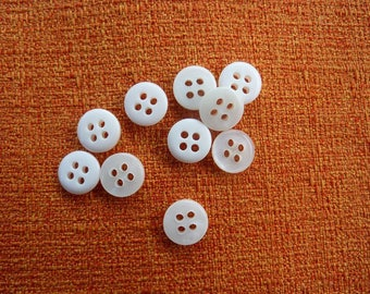 50 buttons from old shirt material synthetic 10 mm diameter
