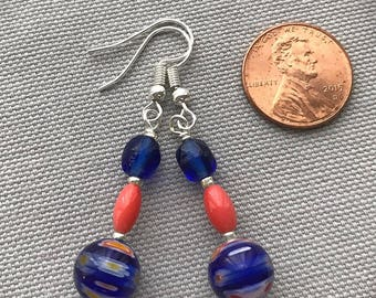 Blue Glass Bead Earrings with Coral Accents