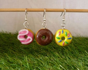 Earrings donuts chocolate, lemon and strawberry