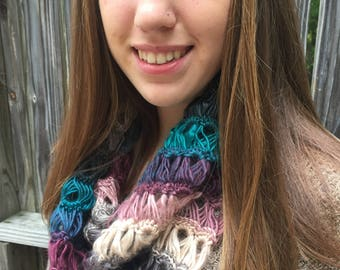 Crocheted Broomstick Lace Infinity Scarf