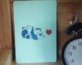 Postcard with geometric panda