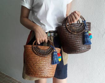 Straw Bag Pom Pom, Top Handles Bag Thai Weaving Seagrass (Krajood) Rattan Handles
