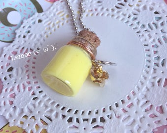 Slime Bottle Necklace/Keychain (Lemon)