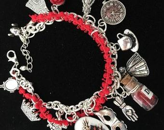 Red Alice in Wonderland Charm Bracelet