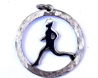 Sterling Silver Man Marathon Runner sports Charm Pendant sports best jewelry handmade